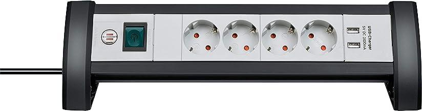 Brennenstuhl Premium Office-Line stekkerdoos 4-voudig met schakelaar (stekkerdoos ideaal voor op het bureau, 1,8 m kabel, ...
