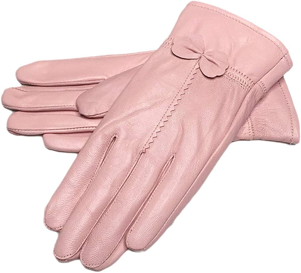 Ealafee 2019 Women Leather Gloves Winter Warm Real Lambskin Lined Driving Gloves