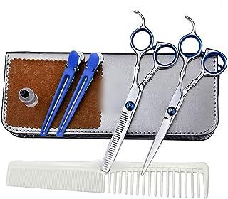 Professional Barber Family Children 6 Inch Thin Set, Flat + Tooth Scissor Set Scissors (Color : Blue)
