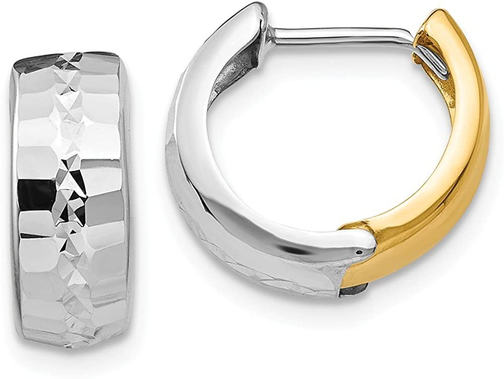 14k Two Tone Yellow Gold Textured Hinged Hoop Earrings Ear Hoops Set Round Fine Jewelry For Women Gifts For Her