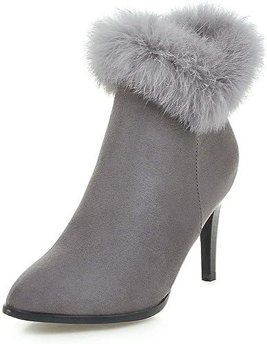 HOESCZS Bottes Bottes Martin Nouveau Chaussures pour Femmes De Grande Taille Givrées Bottes De Stiletto Pointues Réelles Bottes à Talons Hauts  vente discount