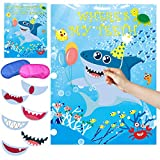 Shark Party Game Pin The Teeth on Shark Party Favors Games for Kids Shark Theme Birthday Baby Shower Ocean Party Supplies -36 Teeth