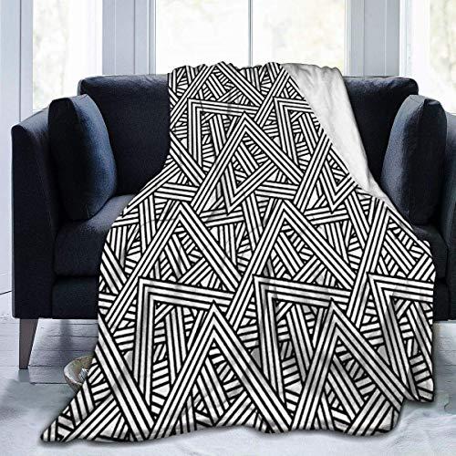 Lawenp Manta de Microfibra Ultra Suave, Manta súper Suave, Grande, Resistente a Las Arrugas, cálida, Lavable, para sofá o Cama, triángulo Entrelazado geométrico Abstracto Monocromo ilustre 60 x 50 p