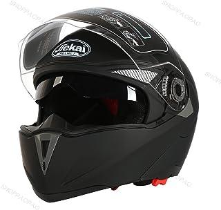 2017 新品 バイクヘルメット 写真用 人気  ジェットヘルメット フルフェイス JIEKAI バイク ヘルメット JK105 Bike Helmet システム フリップアップ オフロード ジェット シールド付き男女兼用 艶消しブラック(透明シールド) XL