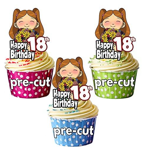 prédécoupée Fille avec fleurs – Fille d'anniversaire 18 ans – comestible pour cupcakes/gteau Décorations (lot de 12)
