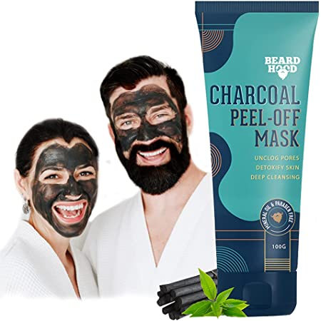 Beardhood Activated Charcoal Peel Off Mask,100g | Deep Cleansing | Blackhead Removal | Dead Skin Removal | Sulphate and Paraben Free