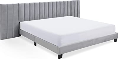 Finch Gramercy Modern Upholstered Platform Bed with Channel Tufted Extended Headboard, Mattress Foundation, No Box Springs Needed, Wood Frame Slats Support with Easy Assembly, King Size, Grey