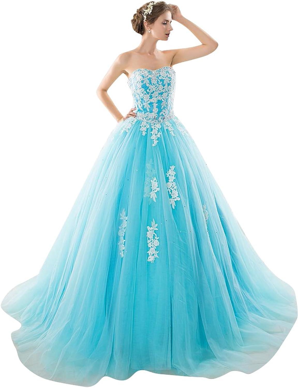 BeautyEmily Lace Sweetheart Neckline Sweep Train Wedding Dresses