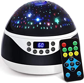 Stars Night Light Projector with Timer & Music, Remote Control Projection Lamp for Kids, Rotating Kids Night Lights for Be...