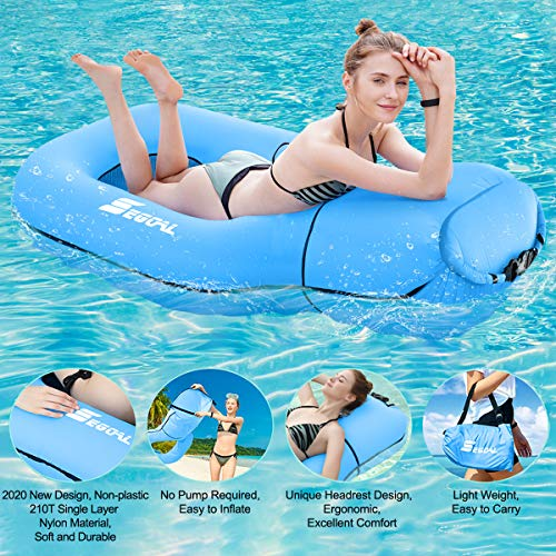 2020 Pool Floats Inflatable Floating Lounger Chair Water Hammock Raft Swimming Ring Pool Toy for Adults amp Kids Lightweight Single Layer Nylon Fabric No Pump Required 3 Seconds Filling The Air