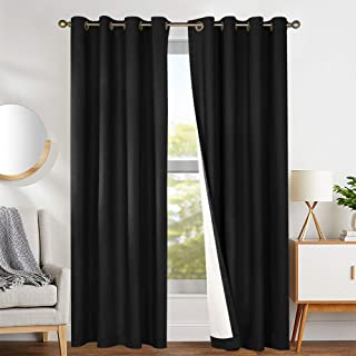 Blackout Curtains Black 84 inch Bedroom Window Curtain Thermal Insulated Drapes One Panel Grommet Top