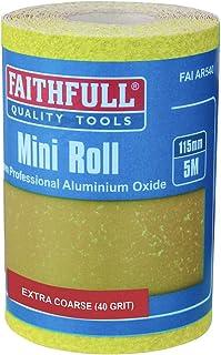 Faithfull 115 mm x 5 m 40 g pappersrulle av aluminium oxid – gul