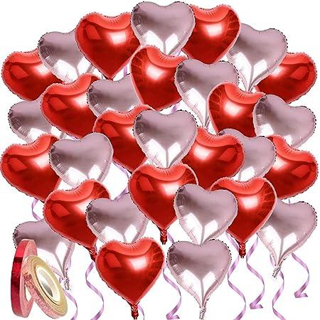 30枚入 ハート アルミバルーン アルミ風船 ハート 誕生日 結婚式 バルーン 46cm 大きい キラキラ風船用リボン付き パーティー バレンタイン お店の装飾 (赤+ピンク)