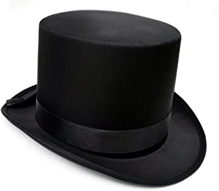 JJMS Brand Fantastic Black Top Hat Great Quality Hard Satin top Hat