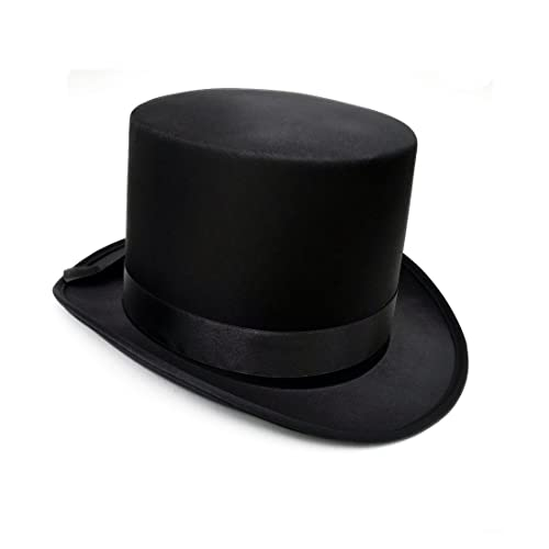 0469674573c Fantastic Black Top Hat Great Quality Hard Satin Look Hat approx 59cm