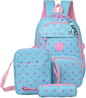School Backpacks Girls and Boys Backpack with Lunch Bag Pencil Case 3 in 1 Bookbags (Light Blue)