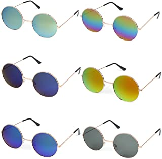 6262636669 6 Pieces Round Hippie Sunglasses Retro Circle Glasses Hippie Dressing John  Lennon Style Rimless Tinted Lens