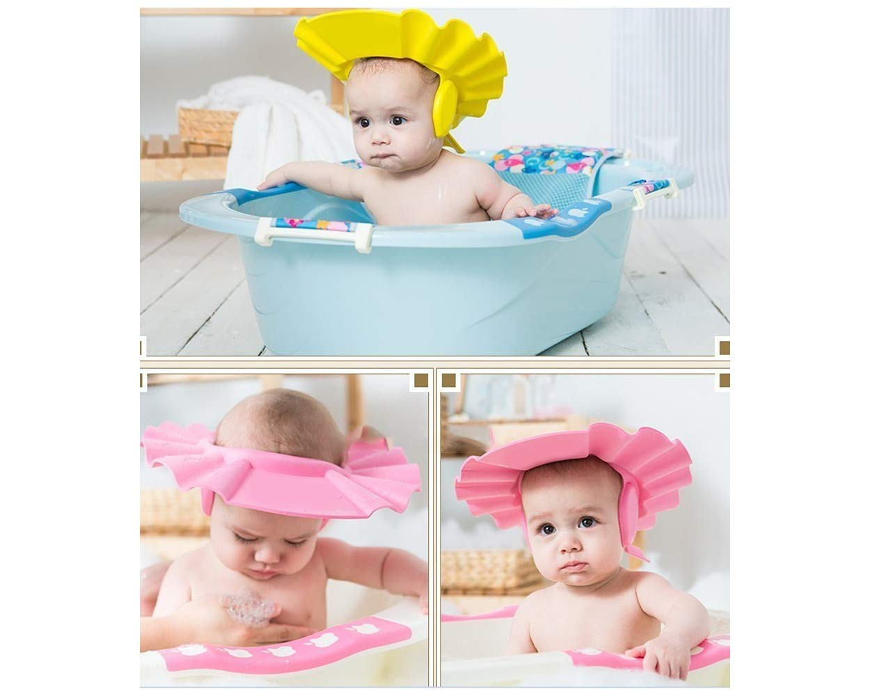 DS. DISTINCTIVE STYLE Baby Shower Cap Adjustable Baby Bath Hat with Ear Protection Soft and Comfortable Kids Shower Cap - Pink