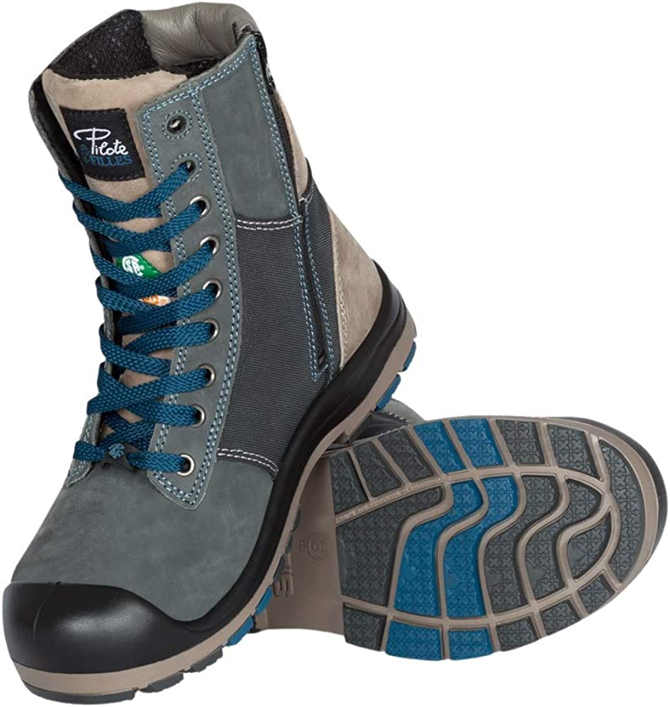 P&F Workwear Lightweight Steel Toe Safety Boots for Women with Zipper   Marine/Blue