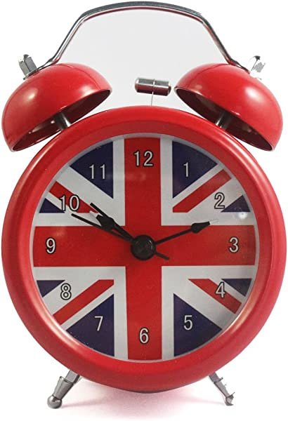 Vintage Alarm Clock British London Flag Table Desk Alarm Clock No Ticking Kids Children Clock Red Color