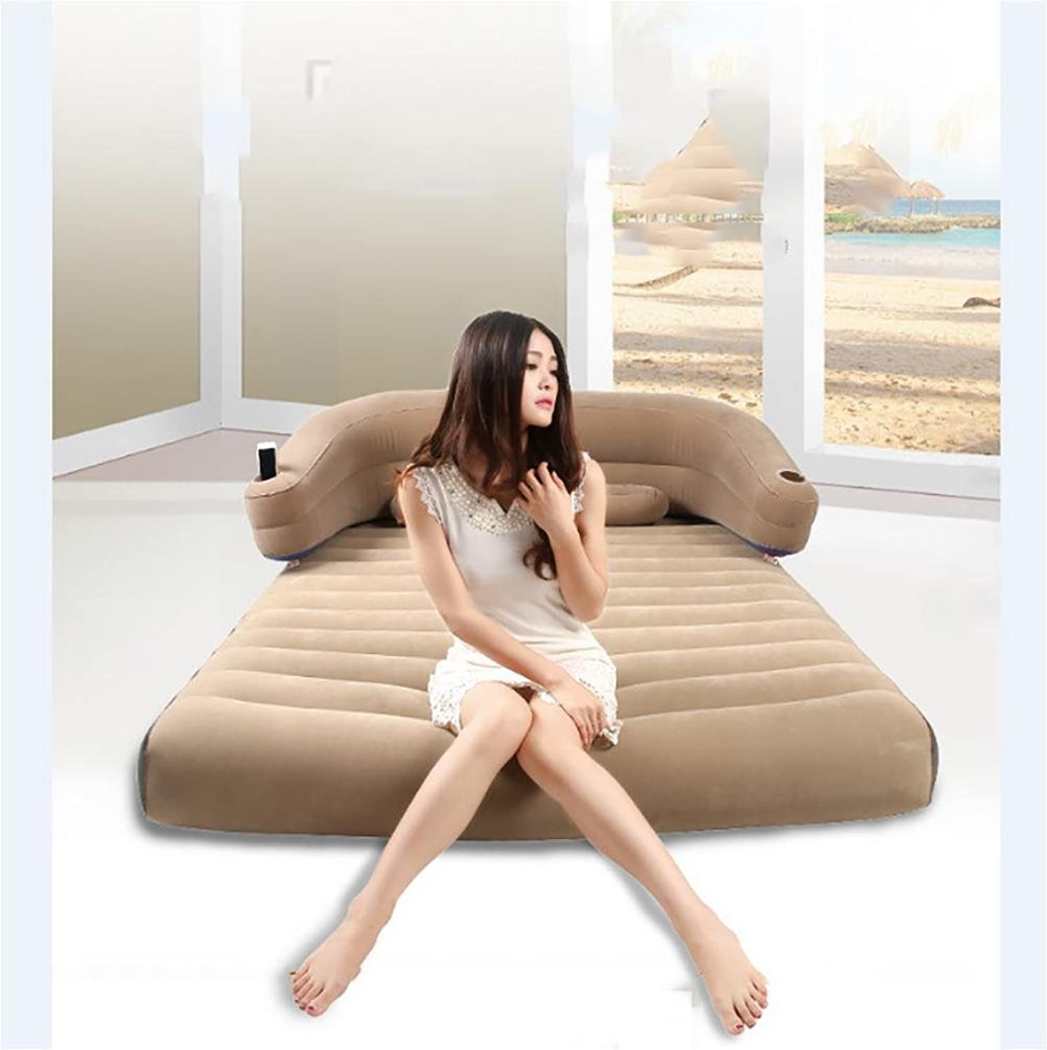 POTA Deluxe Pillow Rest Raised Airbed with Soft Flocked Top for Comfort, Built-in Pillow and Electric Pump