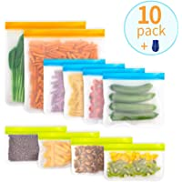 LOBKIN Reusable Storage Bags Set of 10 Pack (2 Reusable Gallon Bags + 4 Leakproof Reusable Sandwich Bags + 4 Snack Bags)