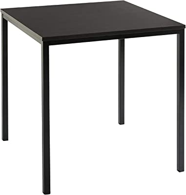 Lakdi Square Shape Side Table with Black Colour Top and Metal Legs (171158114_Black)