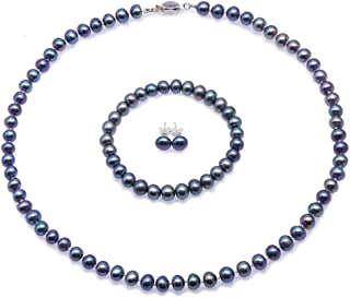 JYX Pearl Necklace Set Pretty 7-8mm Black and Blue Flat Round Freshwater Pearl Necklace Bracelet and Earrings Set