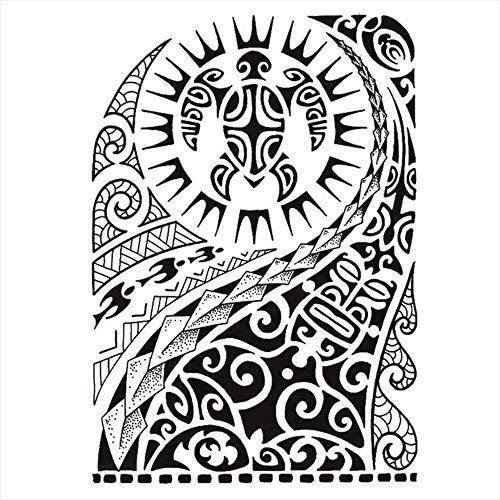 Tatuaggi temporanei Maori tartaruga per uomo e donna, tatuaggio temporaneo, anteriore braccio/gamba/polpaccio/braccio/nuca, 21 x 15 cm