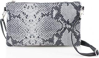 Womens Ladies Real Leather Animal Snake Envelope Clutch Evening Shoulder Bag