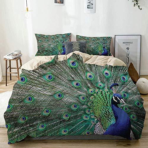 Juego de funda nórdica beige, pavo real con plumas majestuosas alargadas, alas abiertas, imagen decorativa, juego de cama de 3 piezas con 2 fundas de almohada, fácil cuidado, antialérgico, suave, suav