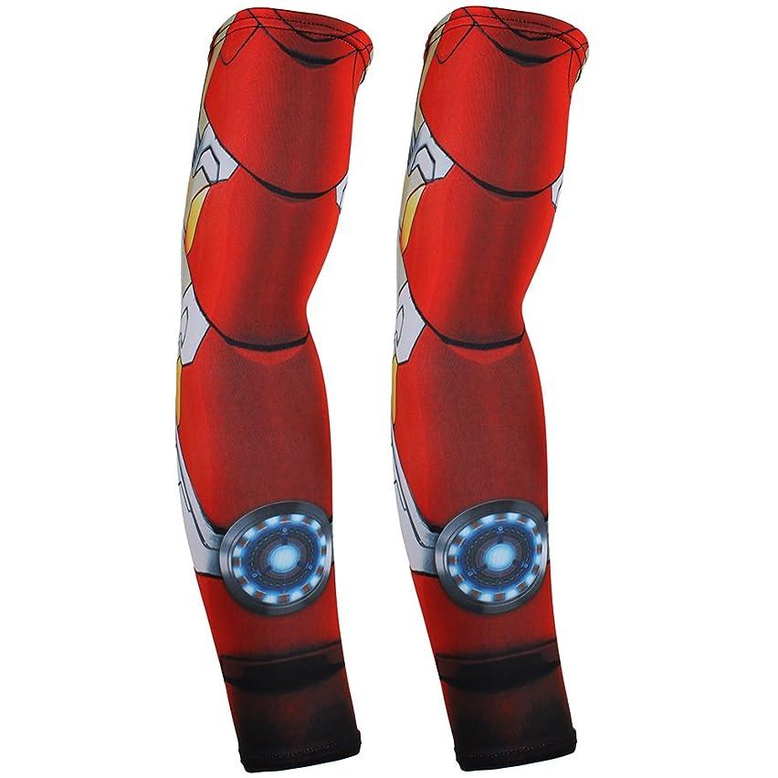 Superhero Sports Compression Athletic Arm Sleeves Set of 2 for Men Women Marvel Spider-man Iron Man Hulk DC Comics Batman Superman (Iron Man-B)