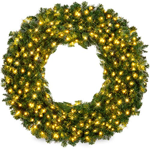 Best Choice Products 60in Large Artificial Pre-Lit Fir Christmas Wreath Holiday Accent Decoration for Door, Mantel w/ 300 LED Lights, 930 PVC Tips, Power Plug-in