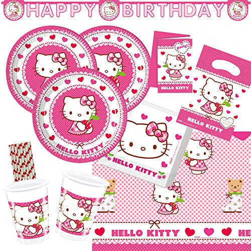 spielum 58-teiliges Party-Set Hello Kitty - Teller Becher Servietten Tischdecke Einladungen Partytüten Girlande Trinkhalme für 6 - 8 Kinder