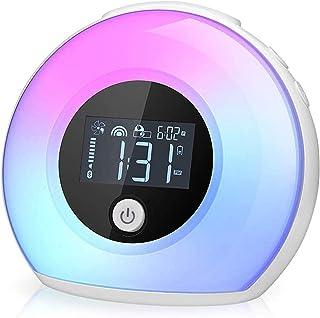 Wake Up Light Bluetooth Speaker, Table Lamp Alarm Clock, Night Light Bluetooth Speakers Lamp, Dimmable Warm Light & Colorf...