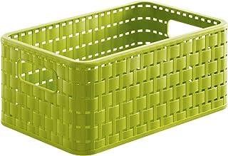 Rotho Country Boîte de Rangement 6L en Rotin, Plastique (PP) sans BPA, Vert, A5/6L (28,0 x 18,5 x 12,6 cm)