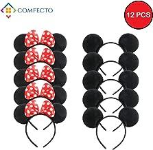 Comfecto 12 Pcs Mickey Minnie Headband Mouse  Ears for Boy Girl Birthday Party Celebration, Black Red Bow