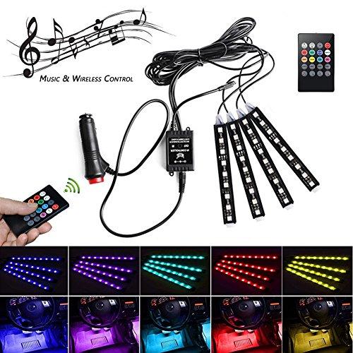 Possbay Auto LED Innenbeleuchtung 4pcs 36 LED Lichtbänder Atmosphäre Beleuchtung Akustisch Aktivierter Musiksteuerung mit Kabelloser Fernbedienung
