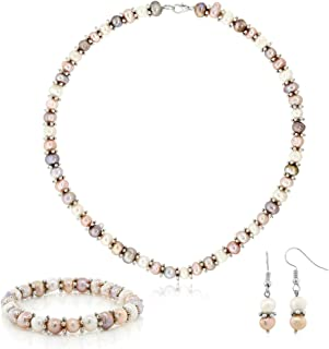 Pink & White Cultured Freshwater Pearl Necklace Earrings Bracelet Set 7-8MM 18inches