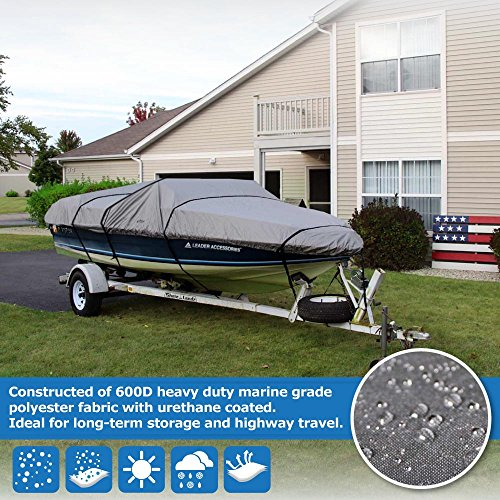 Leader Accessories 600D Polyester 5 Colors Waterproof Trailerable Runabout Boat Cover Fit V-Hull Tri-Hull Fishing Ski Pro-Style Bass Boats,Full Size (14'-16'L Beam Width up to 68'', Grey)