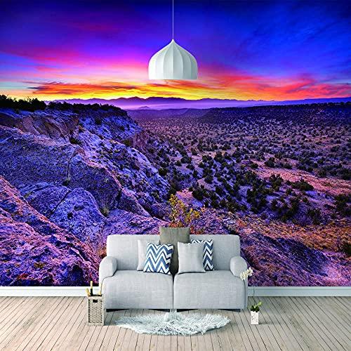 Papel Pintado 3D Foto Murales Montañas al atardecer,Papel Tapiz Fotográfico Premium No-Tejido Mural Apto para Sala de Estar Dormitorio Decoración de la Papel Tapiz 150x105 cm - 3 tiras