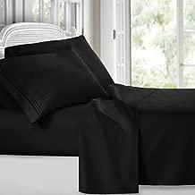 Clara Clark 1800 Premier Series 4pc Bed Sheet Set - King, Black