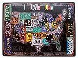 AVENUELAFAYETTE Cadre Tableau Plaque Murale métal Carte USA - Etats-Unis - I Love USA - Vintage rétro - 30 x 20 cm