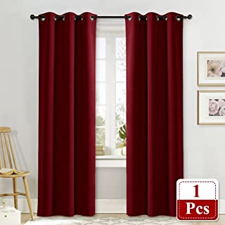 NICETOWN Burgundy Insulated Blackout Curtain Home Decoration Solid Grommet Top Blackout Living Room Drape for Large Window on Christmas & Thanksgiving Day (1 Panel, 42 x 84 inches, Red)