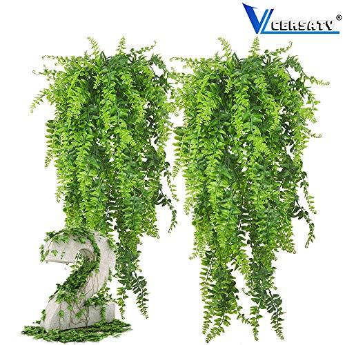 AMZSUPER ERA 2 Pcs Farn Kunstpflanze Hängend, Persien Hängepflanze Künstlich Für Home Hochzeit Garten Outdoor Wall Decor