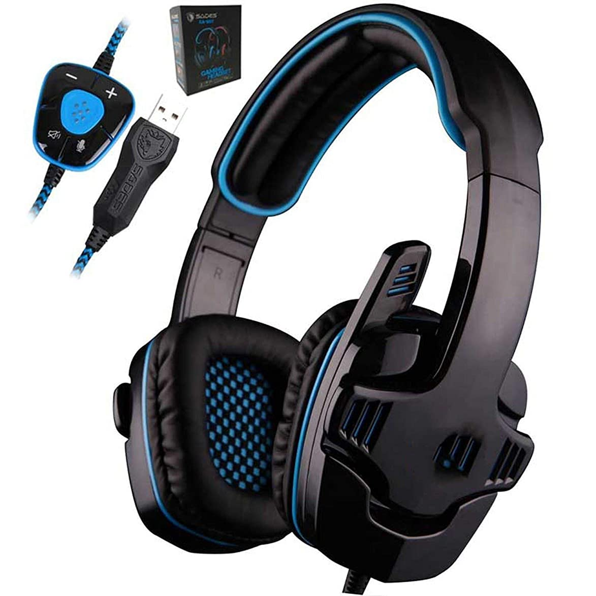 QHGDY Tshirt Gaming Headset 7.1 Surround USB Headphone Microphone Noise Cancelling Mic Computer Gamer,Blue ccj190375862194