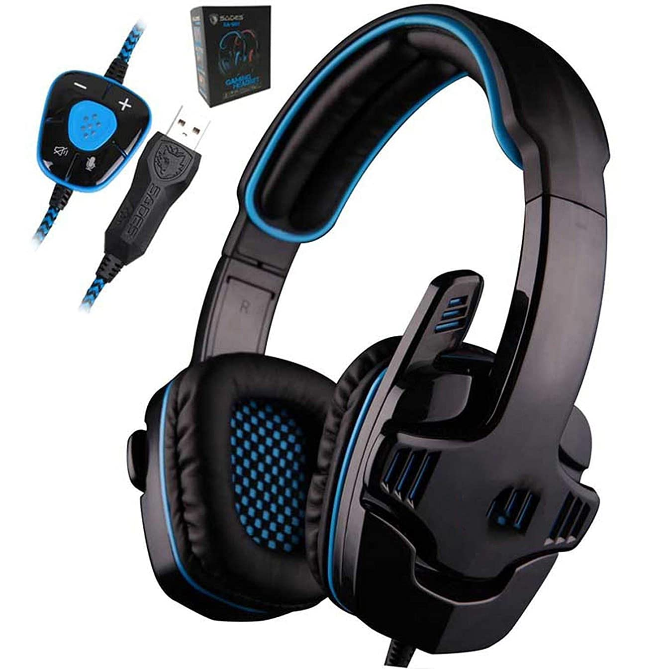 KCHWE Tshirt Gaming Headset 7.1 Surround USB Headphone Microphone Noise Cancelling Mic Computer Gamer,Blue sexc Tops