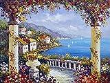 5D DIY diamante pintura ciudad Kit de punto de cruz bordado de diamantes paisaje costero decoración del hogar pintura A6 50x70cm