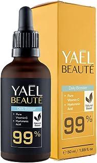Sérum facial con Vitamina C y ácido hialurónico puro ● 99% natural ● tónico facial con efecto antiarrugas y antiedad para ...