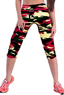 Womens Printed Active Workout Capri Leggings Outfit Stretch Tights
